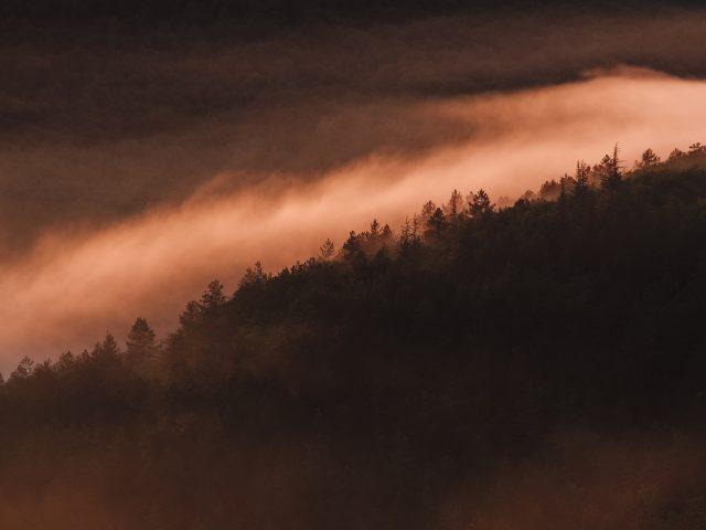 Закат туманный.
