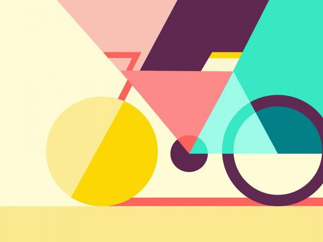 Геометрический абстрактный велосипед