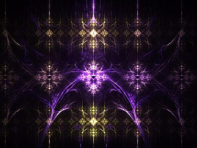 Фиолетово-желтые фрактальные огни абстракция абстракция