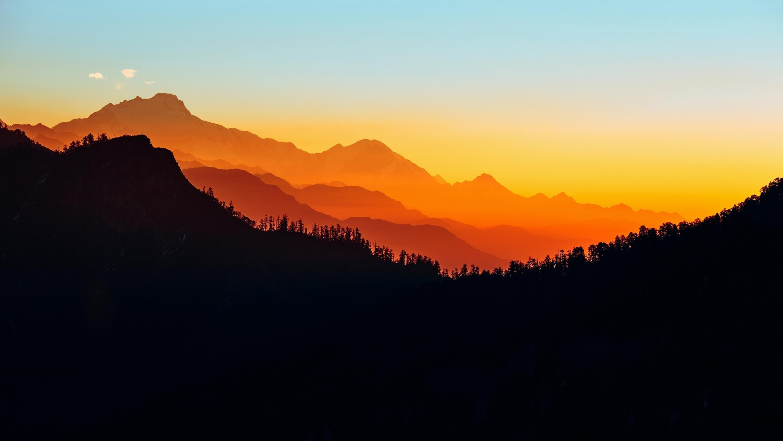 Закат силуэт горы обои скачать