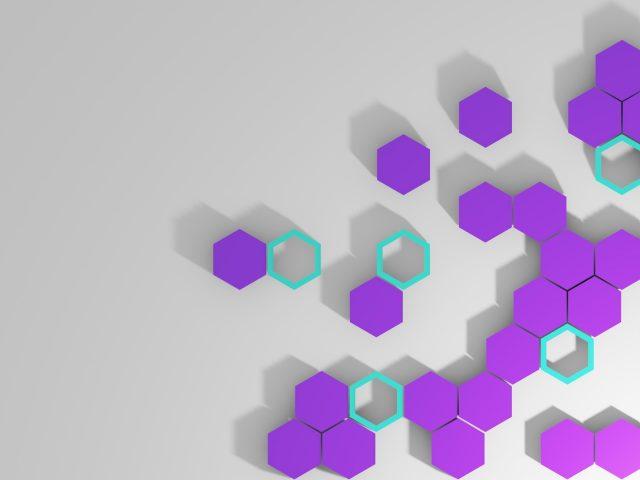 Фиолетовые шестиугольники с серым фоном абстракция