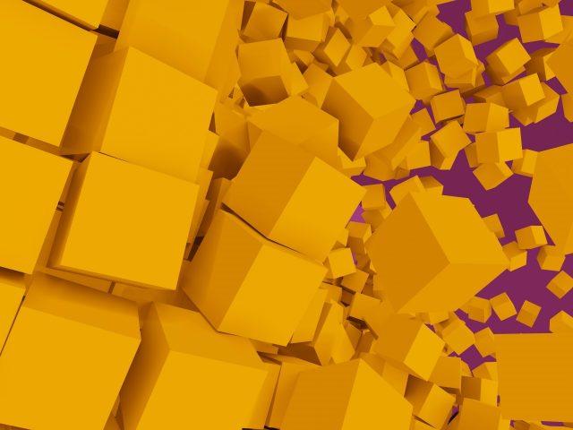 Желтый куб цифровое искусство геометрия абстракция