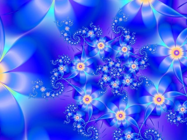 Сине-желтые цветы фрактальная абстракция абстракция
