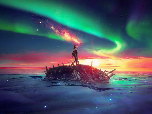 Древний будущее небо море.