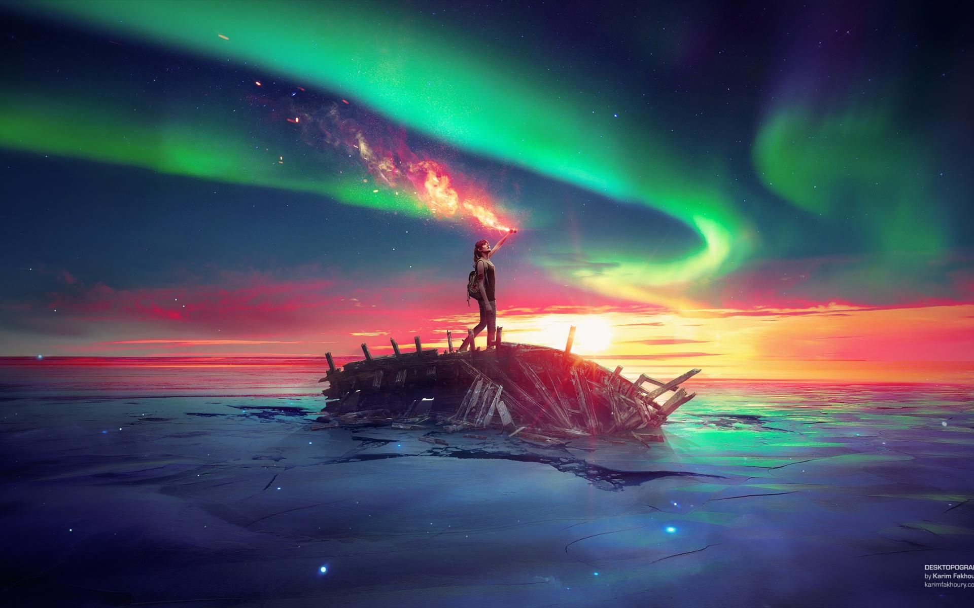 Древний будущее небо море. обои скачать