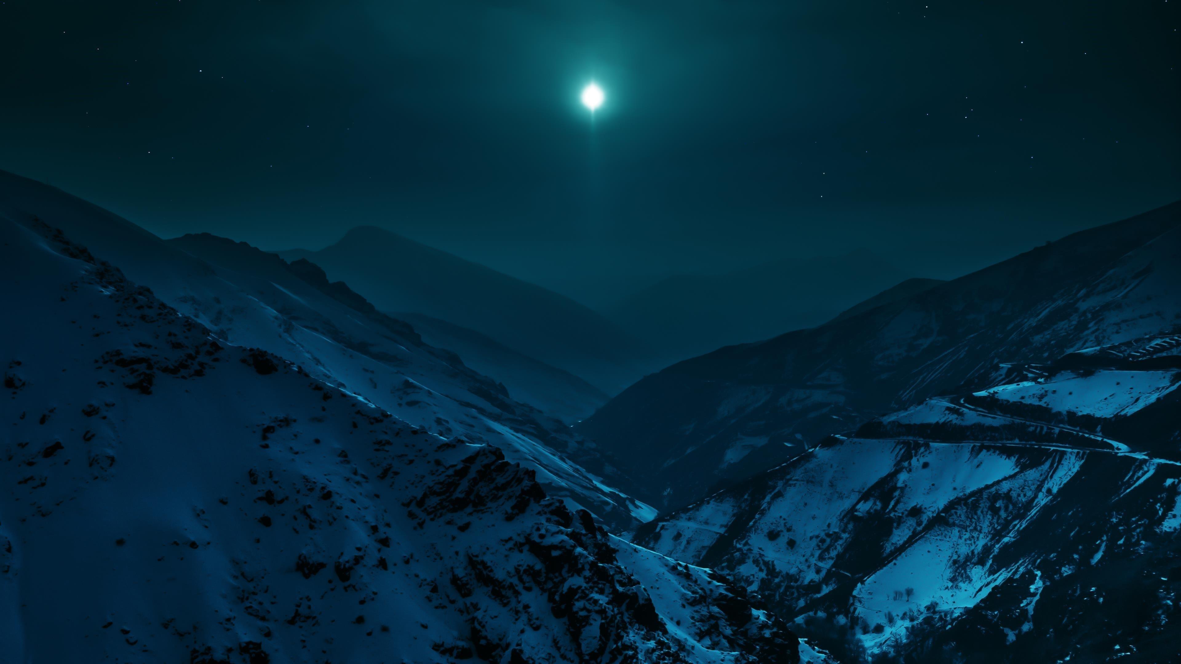 Ночь лунных гор обои скачать