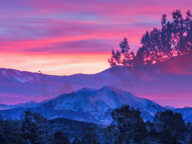 Колорадо красивый Гленвуд Спрингс во время заката природа