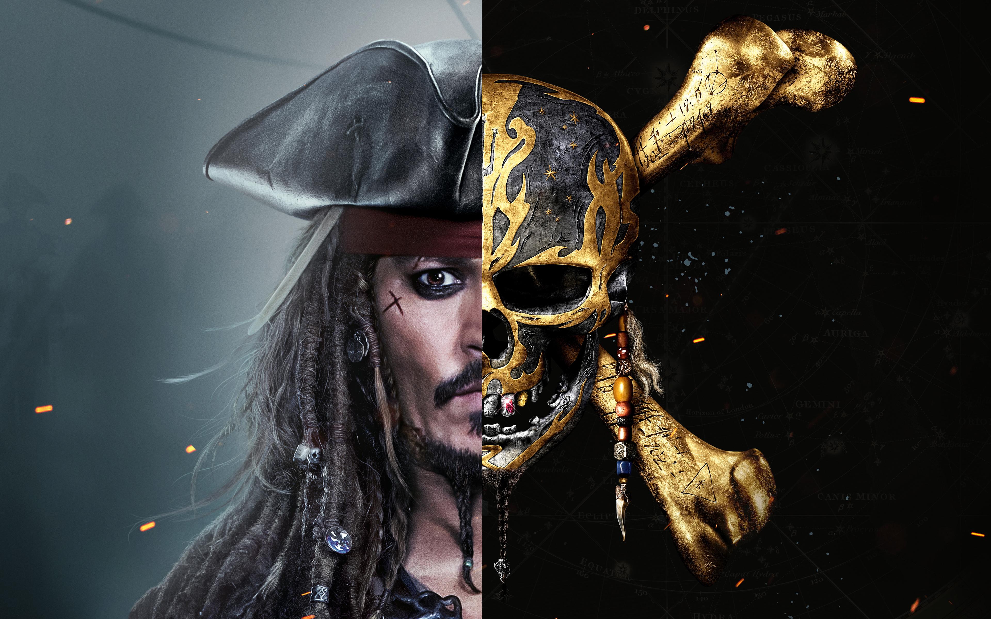 Джек Воробей Пираты Карибского моря salazars месть 8к. обои скачать