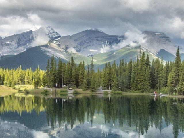 Деревья горы туман отражение на озере черные белые облака небо природа