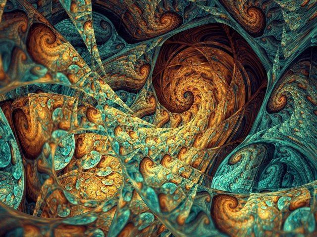 Многоцветная абстрактная фрактальная живопись абстракция