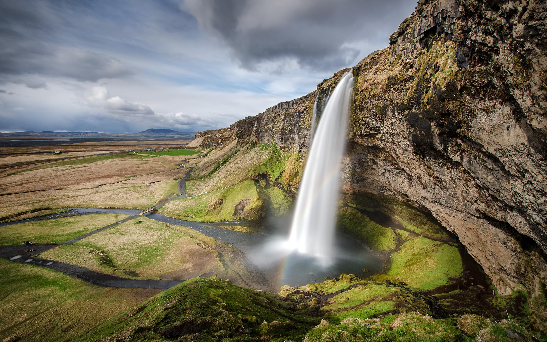 Водопад селйяландсфосс. обои скачать