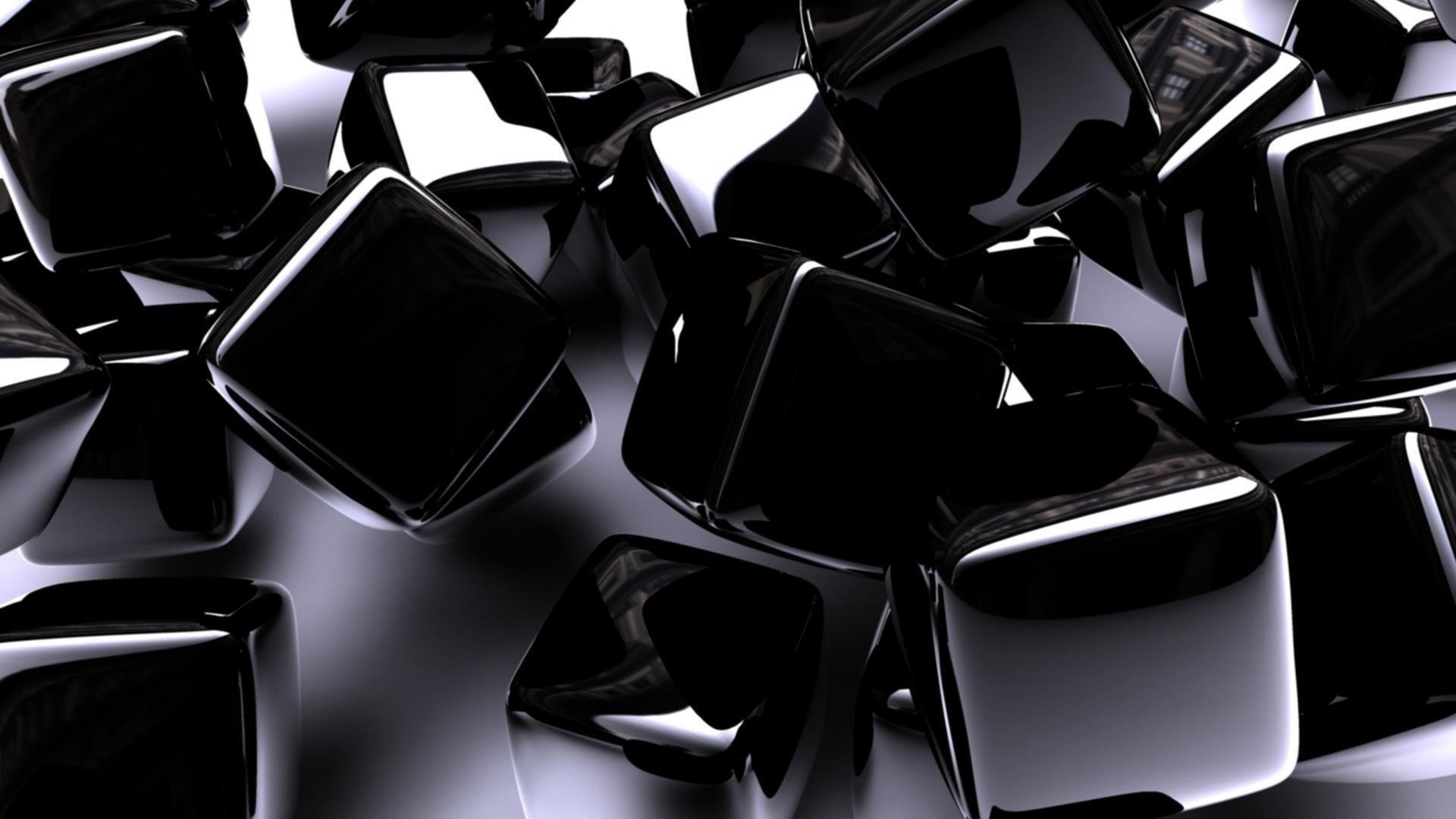 Черные кубики абстрактные обои скачать