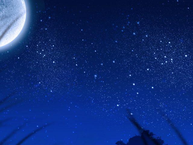 Луна и звезды на небе