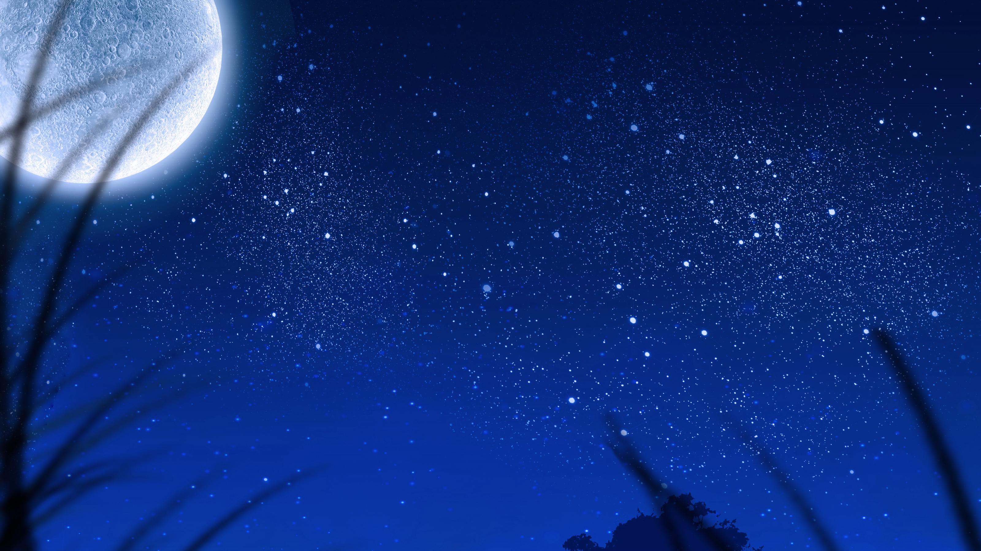 Луна и звезды на небе обои скачать