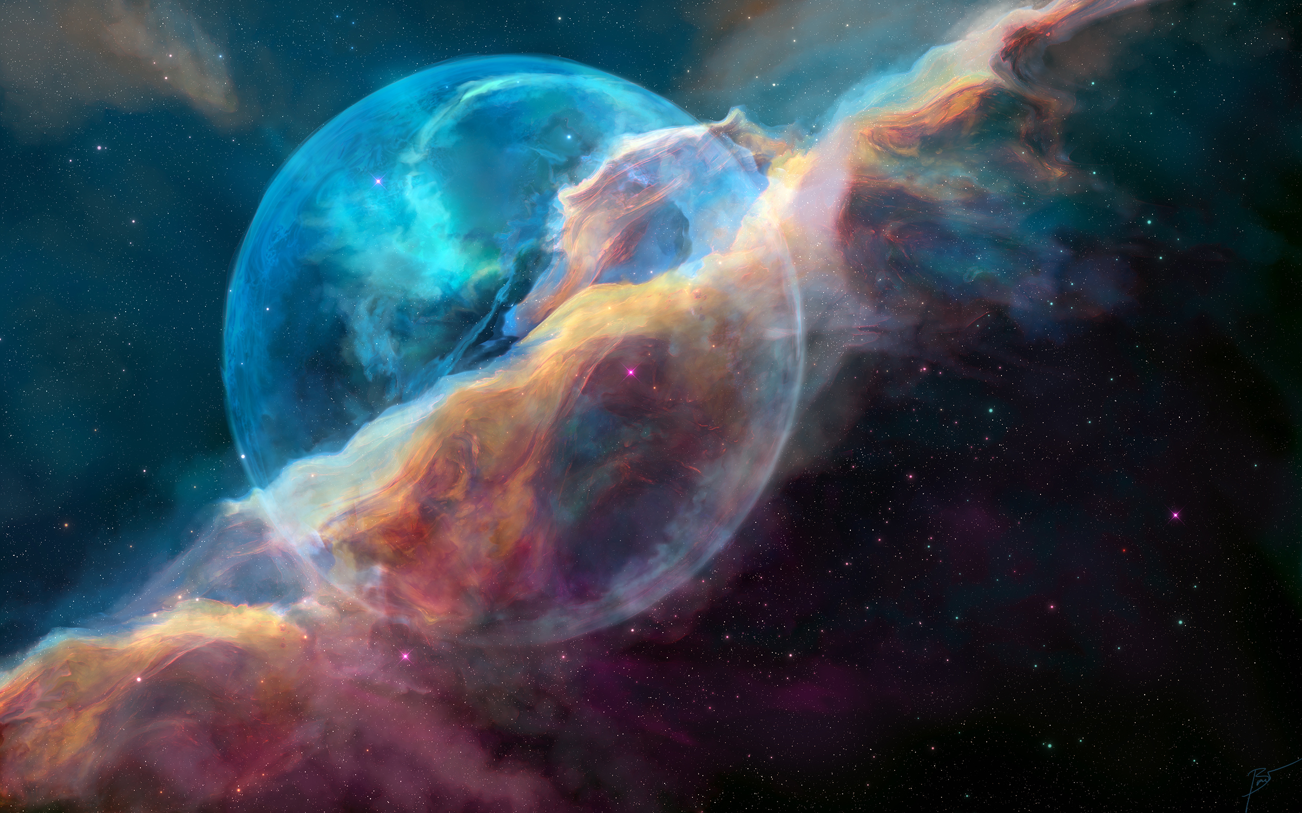 Пузыря или NGC 7635 туманность обои скачать