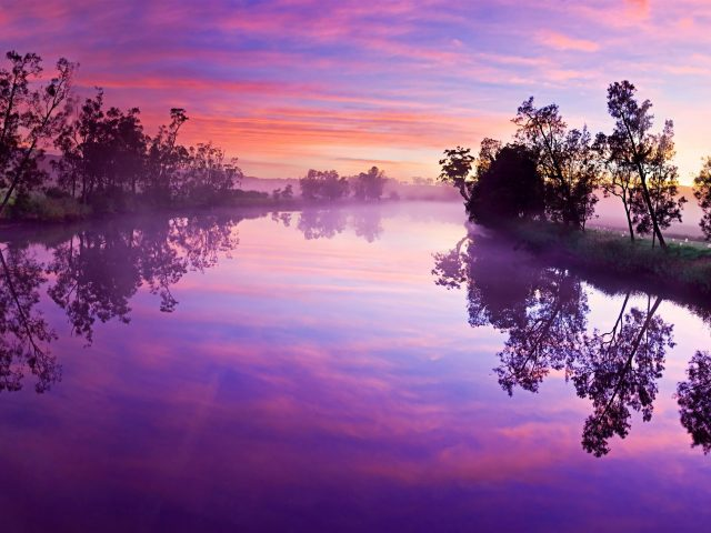 Фиолетовое облачное небо над озером с деревьями отражение природы