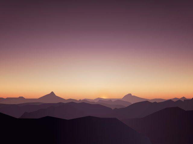 Спокойный закат горы