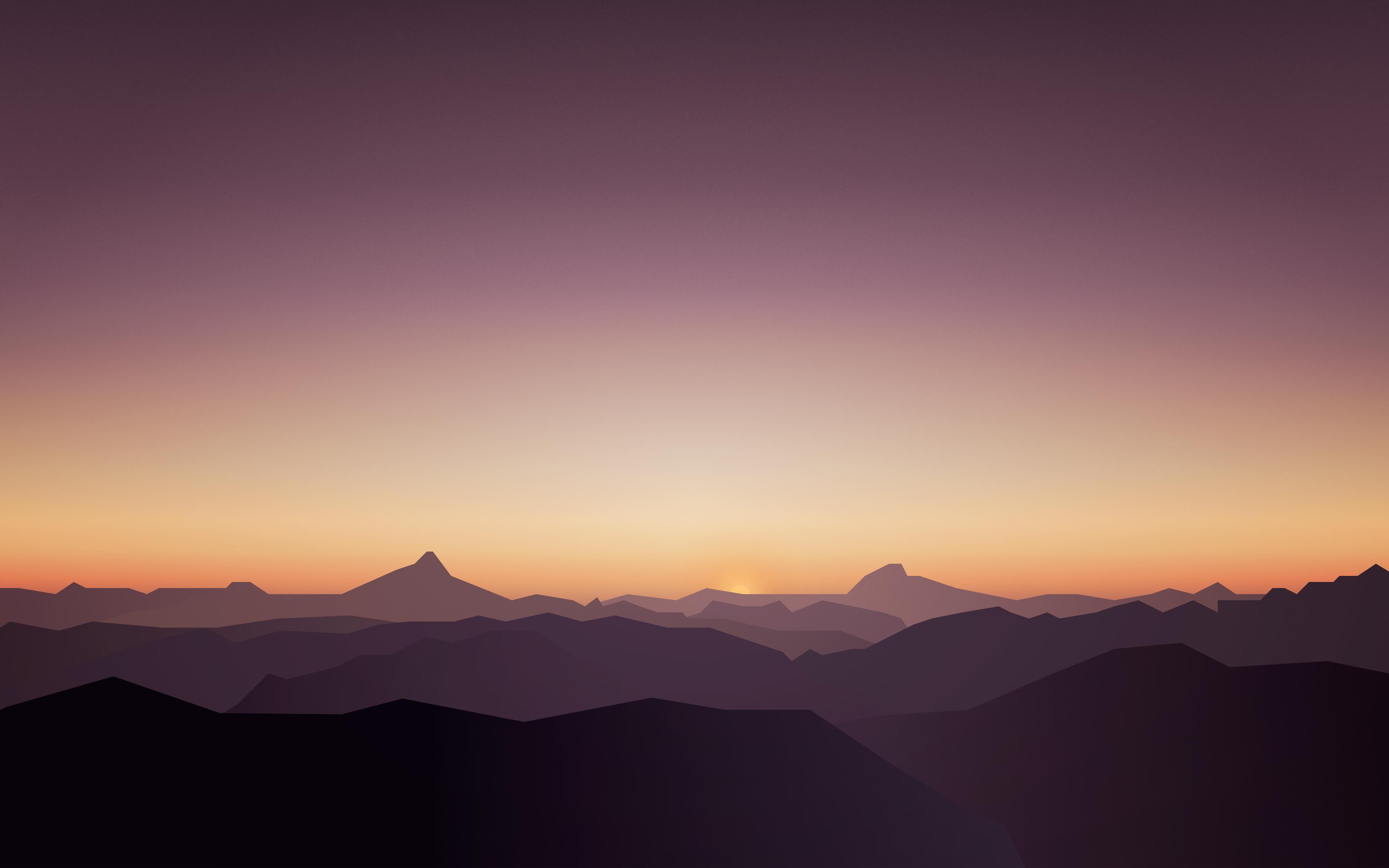 Спокойный закат горы обои скачать