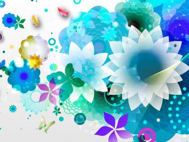 Белые синие цветы абстракция