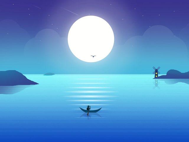 Полная луна синий градиентный пейзаж