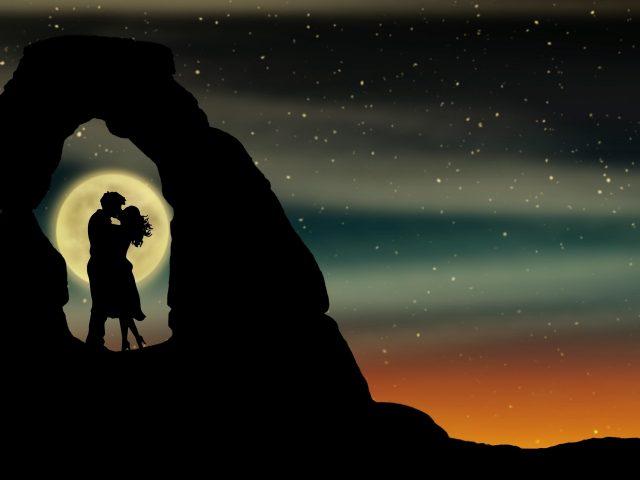Пара романтический поцелуй