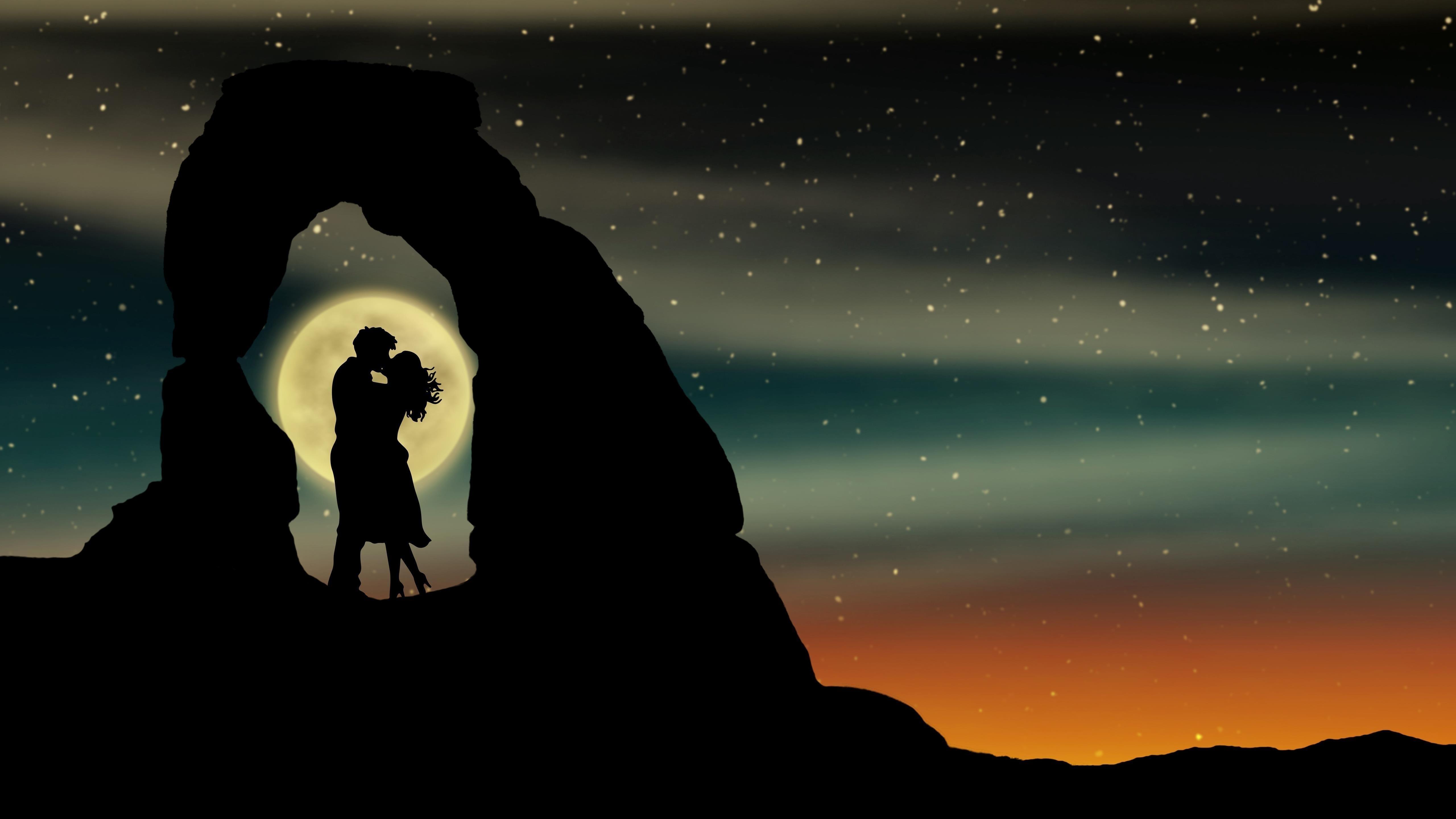 Пара романтический поцелуй обои скачать
