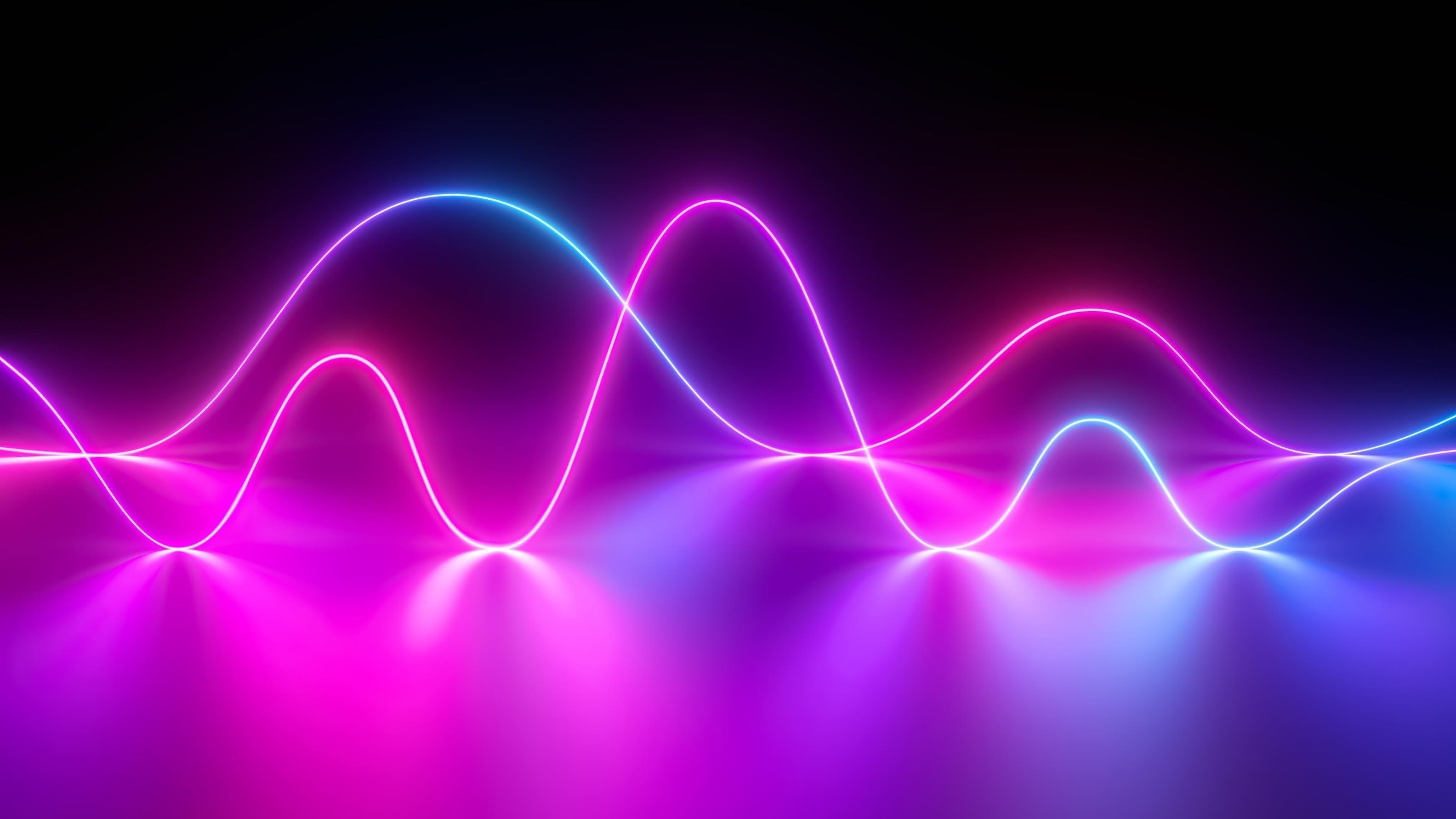 Неоновые волны обои скачать