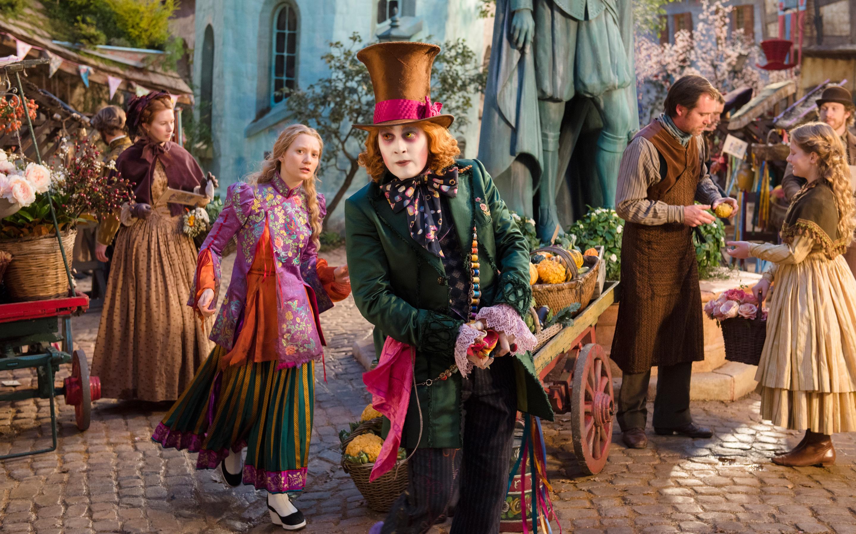 Алиса в Зазеркалье Миа васиковска Джонни Депп. обои скачать