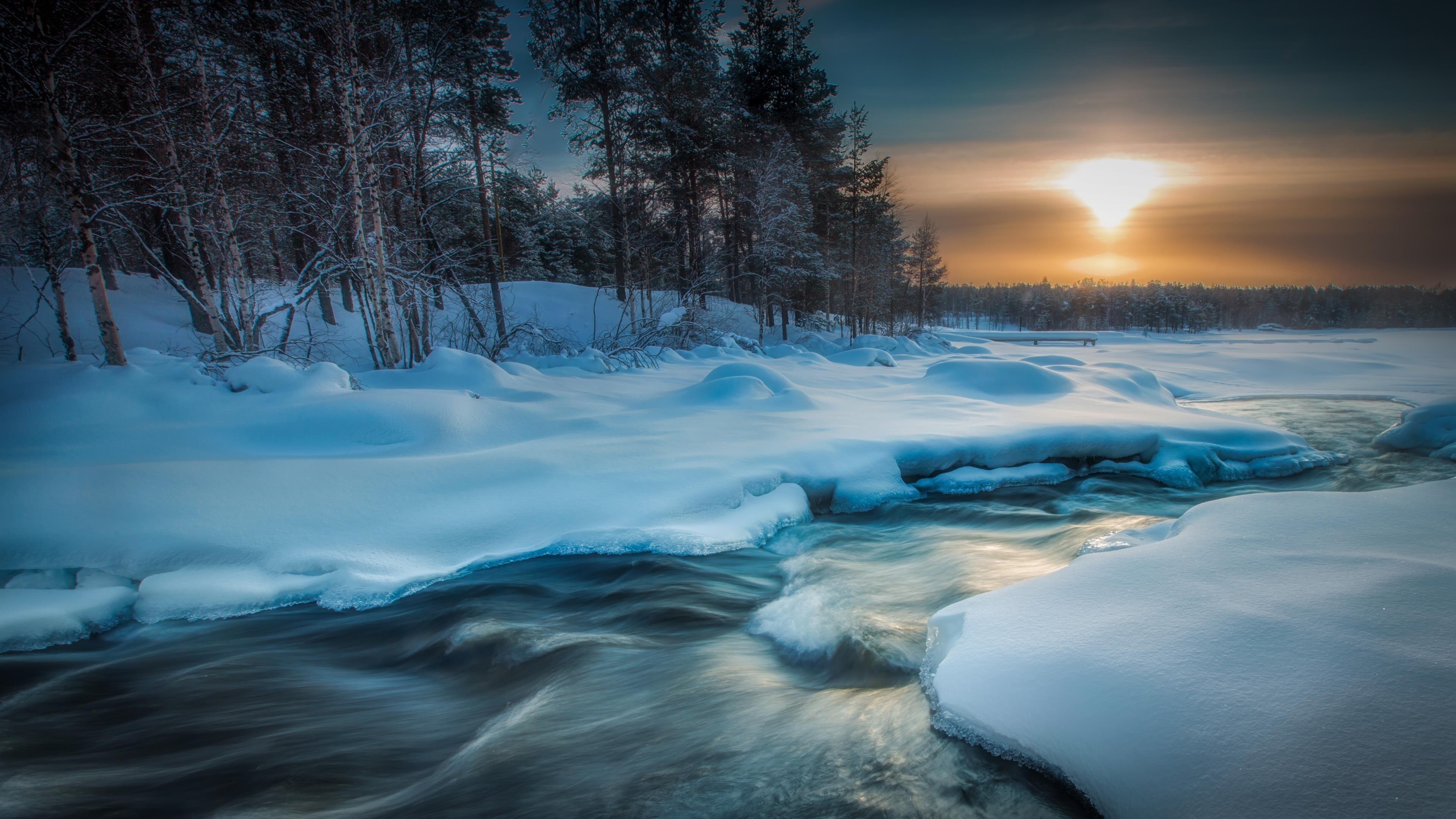 Ручей река между соснами во время заката солнца в зимней природе обои скачать