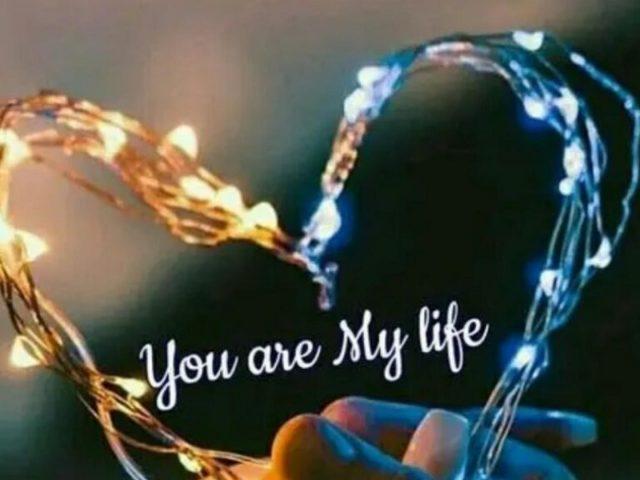 Желтые синие огни любовь в форме сердца любовь