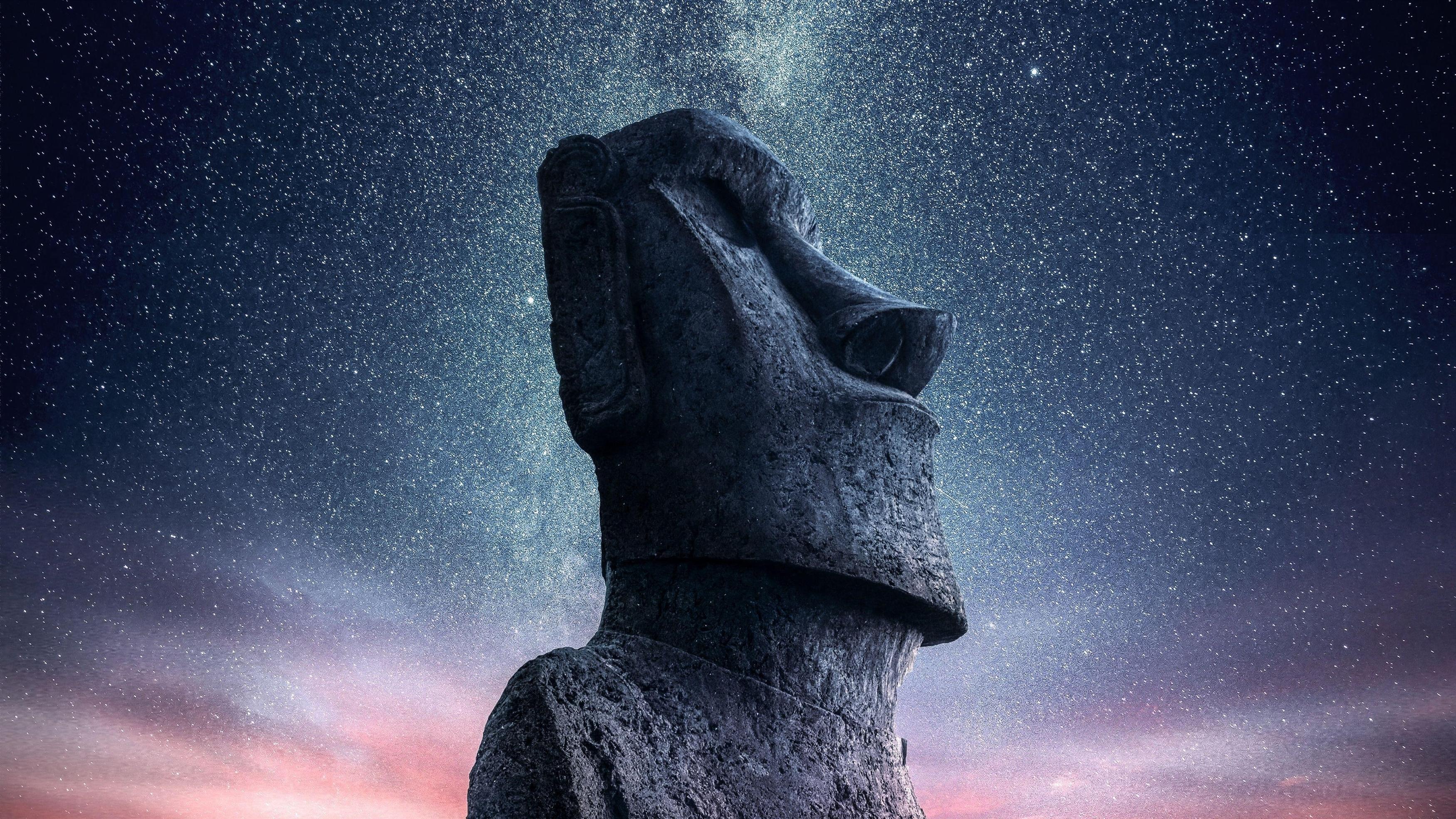 Моаи статуя идола остров Пасхи звездное небо обои скачать