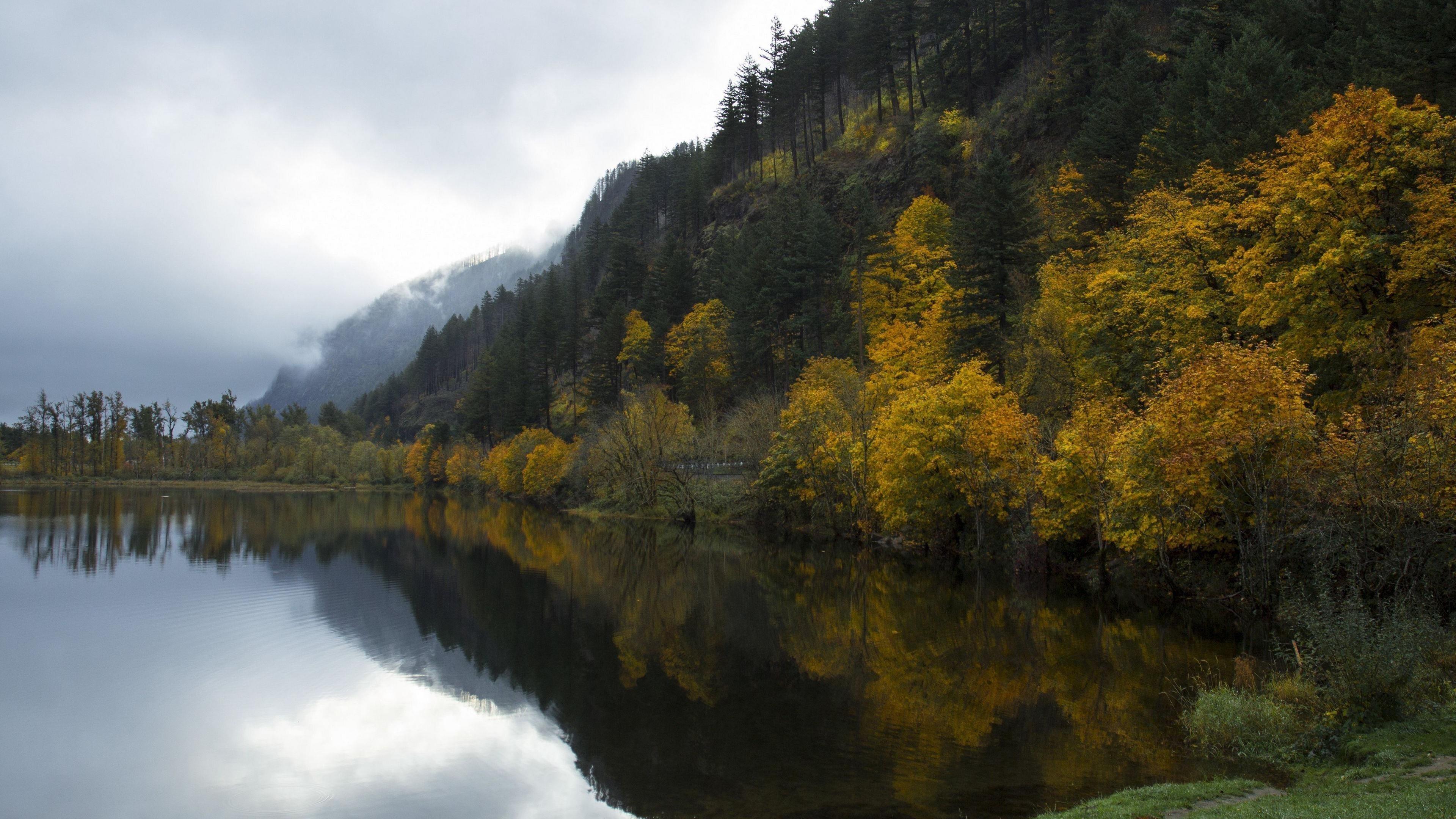 Покрытые зеленью горы озеро отражение природа обои скачать