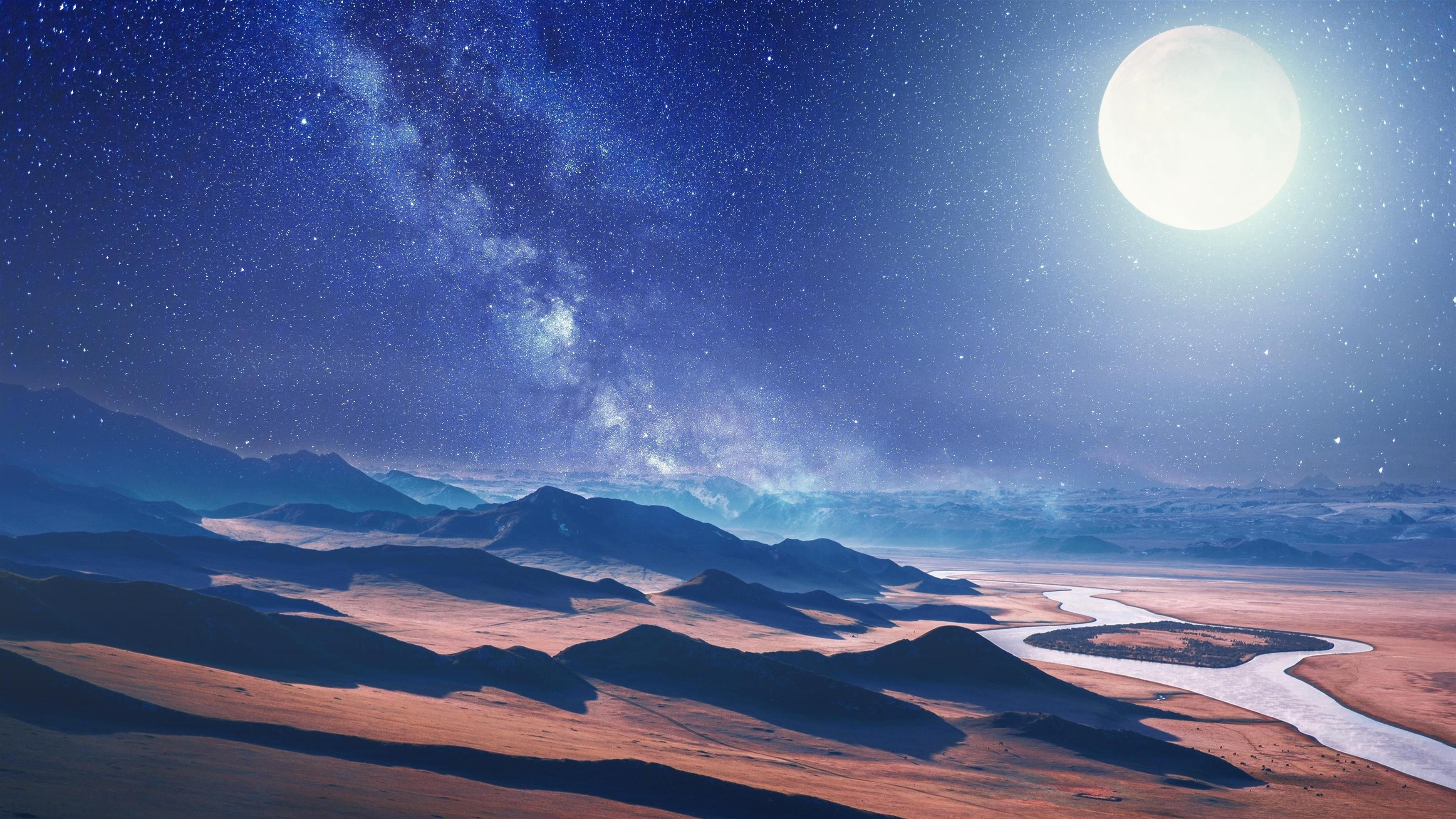 Луна пустынный пейзаж обои скачать