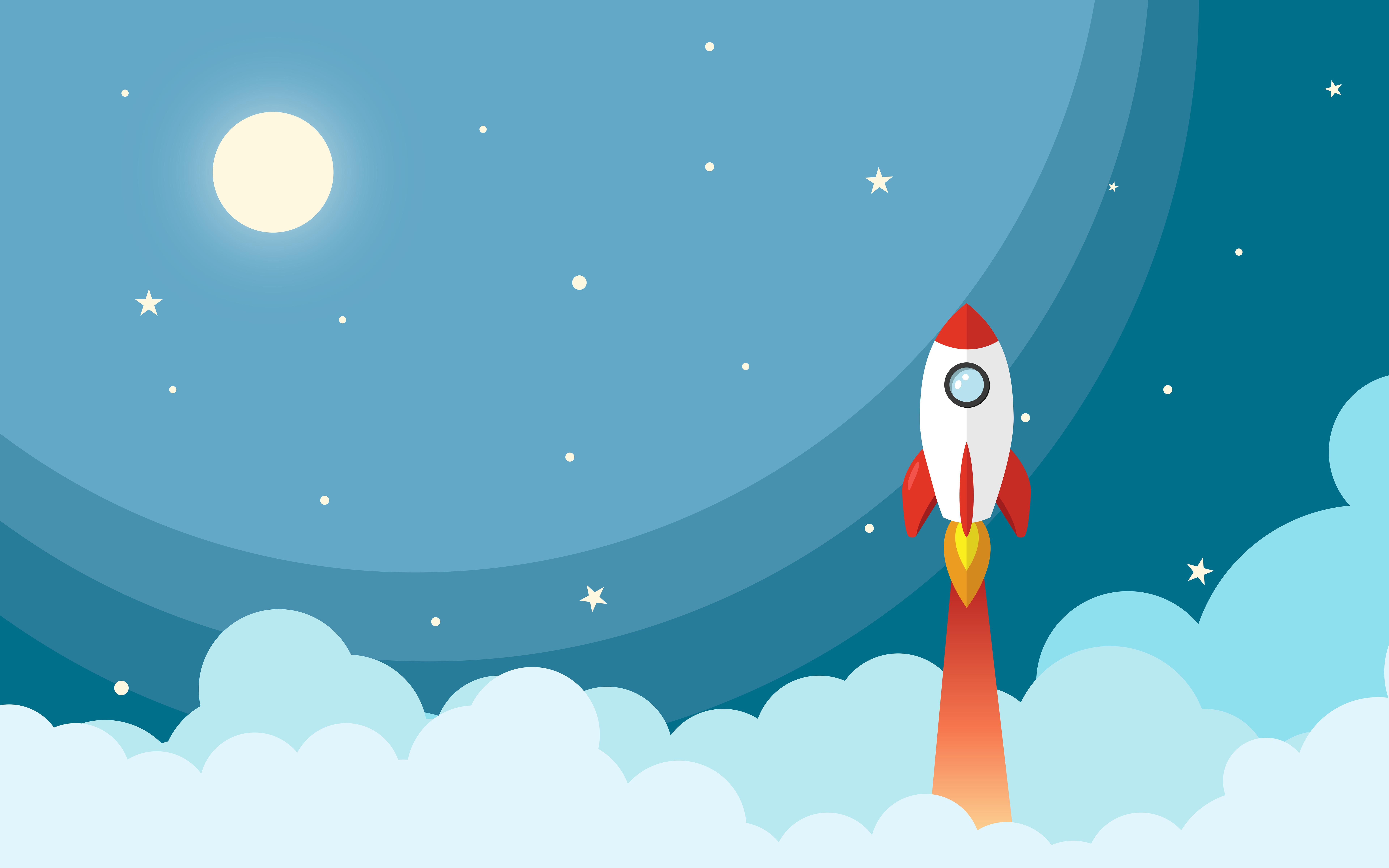 Rocket to moon минимальное художественное произведение обои скачать