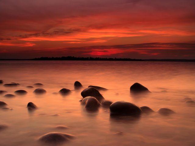 Пейзаж побережье закат