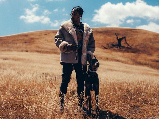 Трэвис Скотт стоит с собакой на сухой траве на фоне пасмурного неба Трэвис Скотт