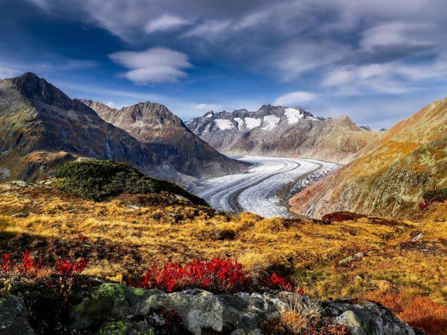 Горы Швейцария ледник Алеч Альпы природа