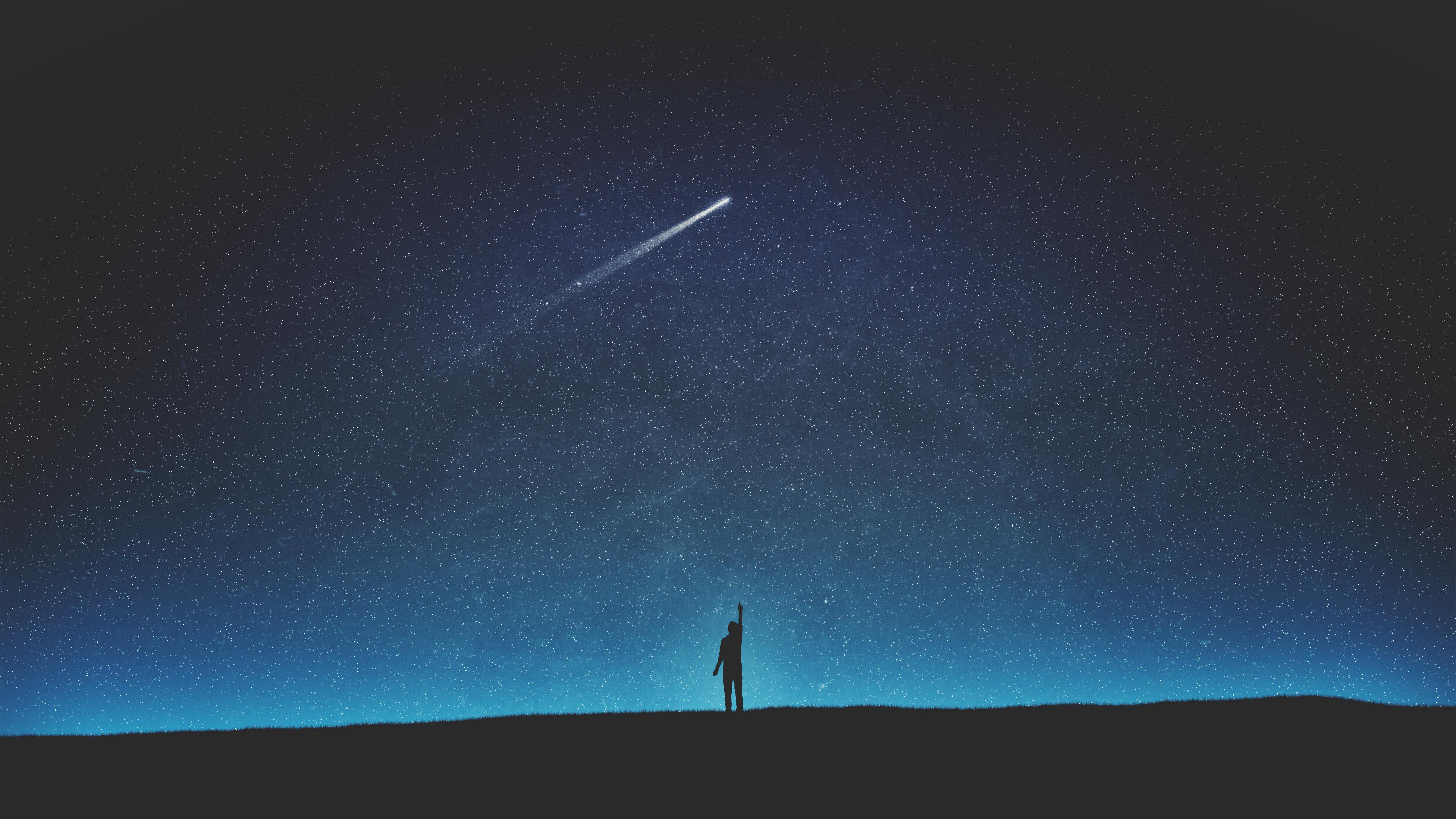 Силуэт падающей звезды обои скачать