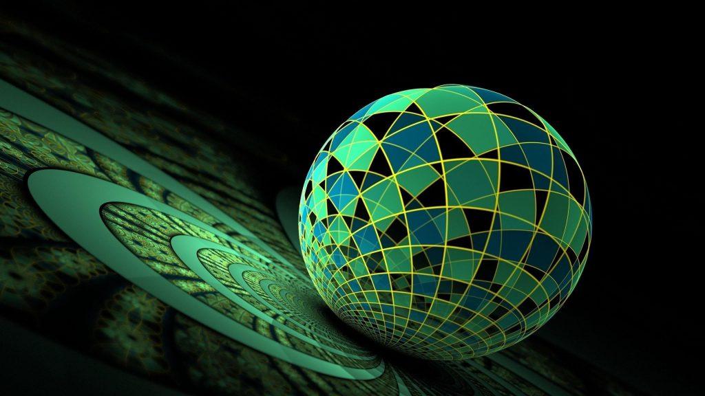3d фрактальный красочный стеклянный шар абстрактный обои скачать
