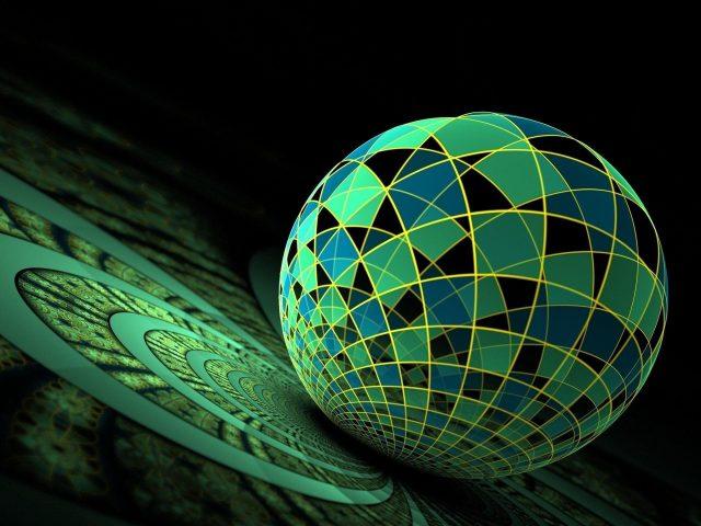 3d фрактальный красочный стеклянный шар абстрактный