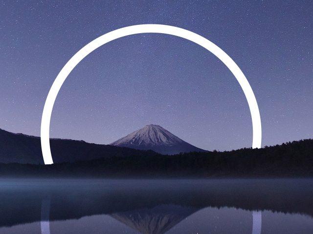 Гора Фудзи геометрический пейзаж