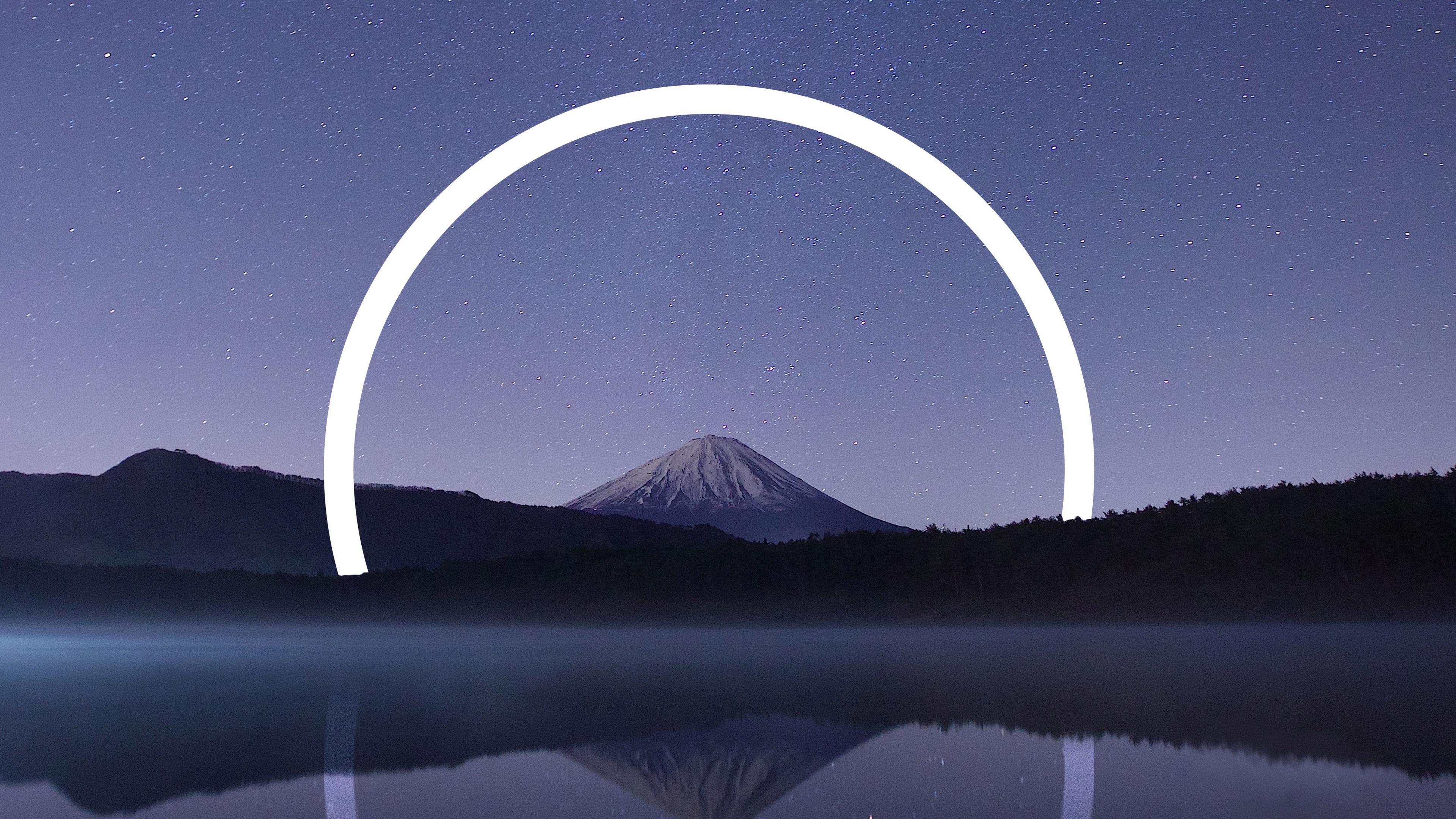 Гора Фудзи геометрический пейзаж обои скачать