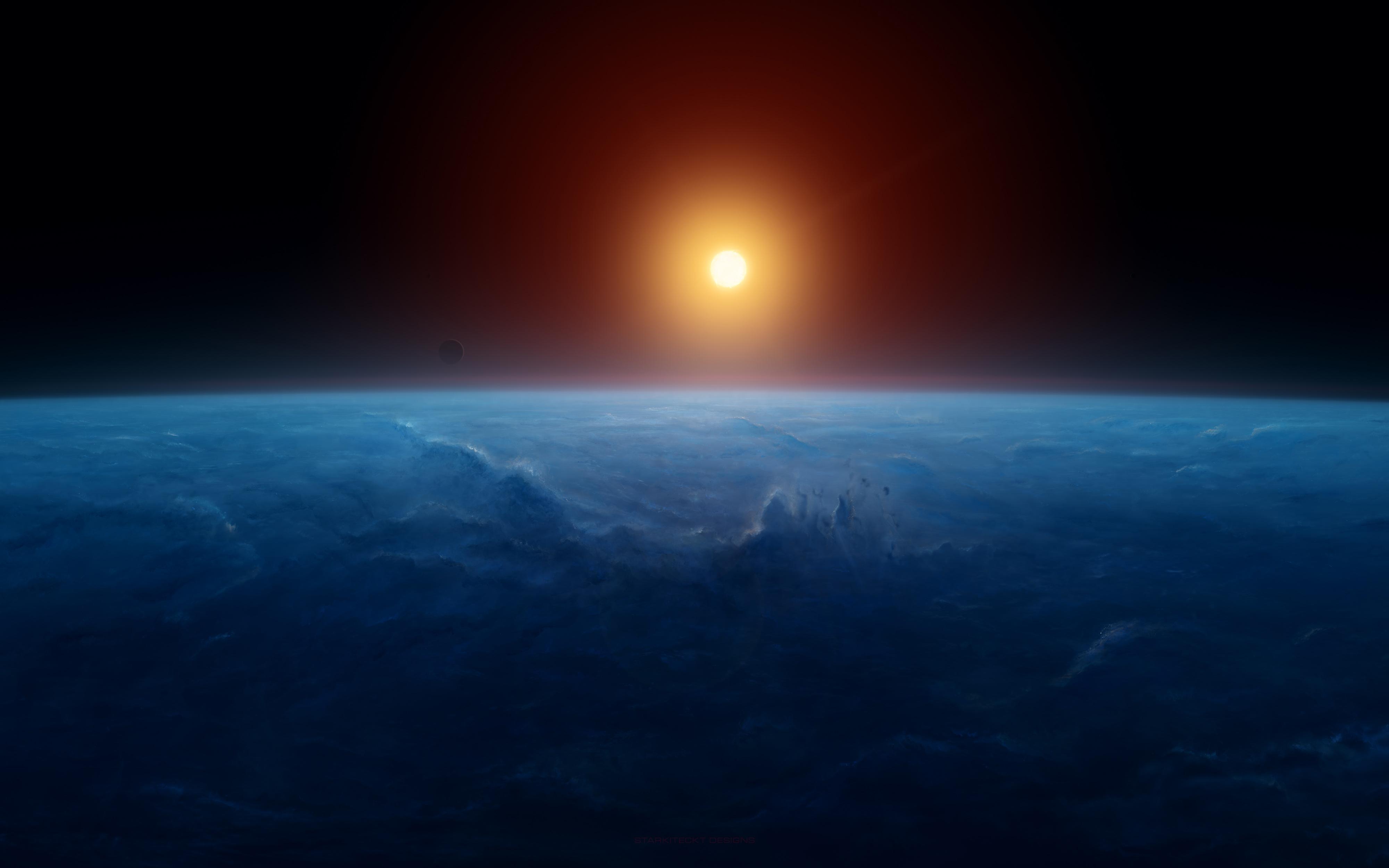 Восход горизонт земли 8к. обои скачать