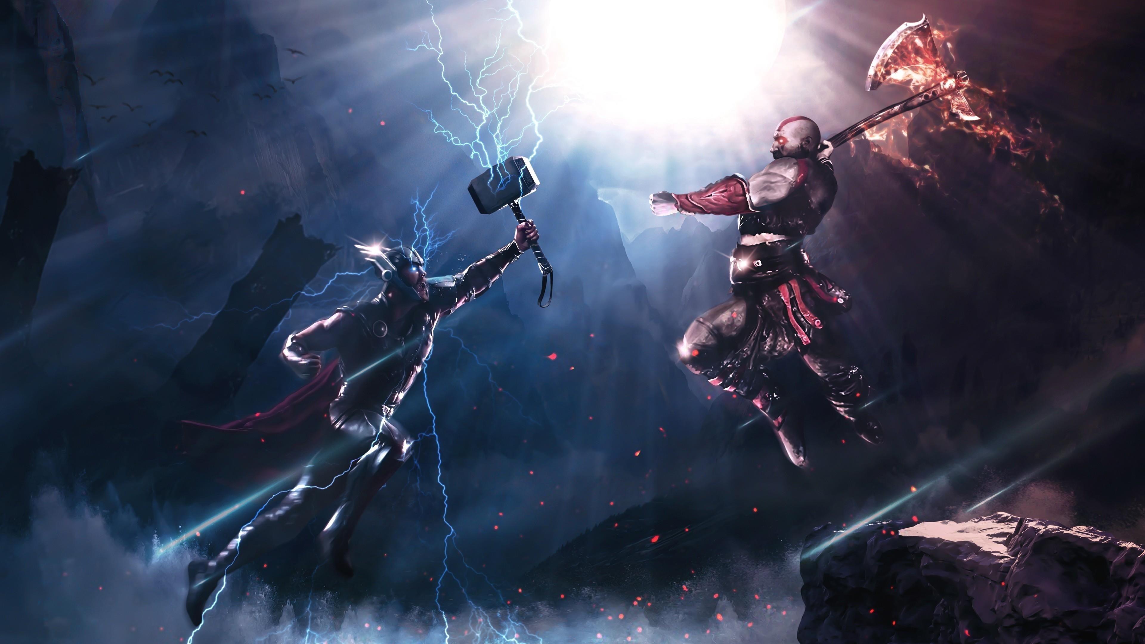 Тор против Кратоса обои скачать