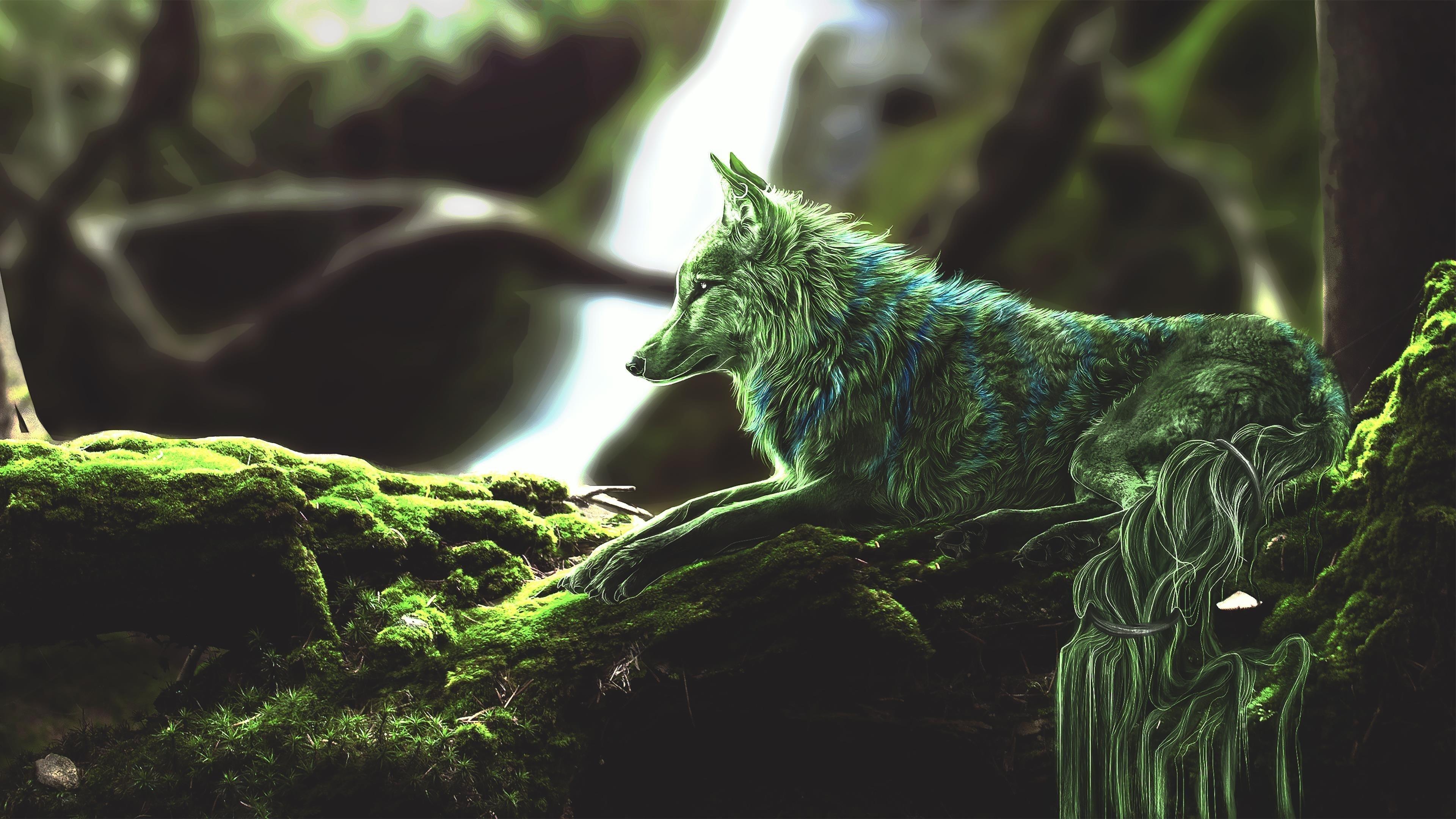 Зеленый волк обои скачать