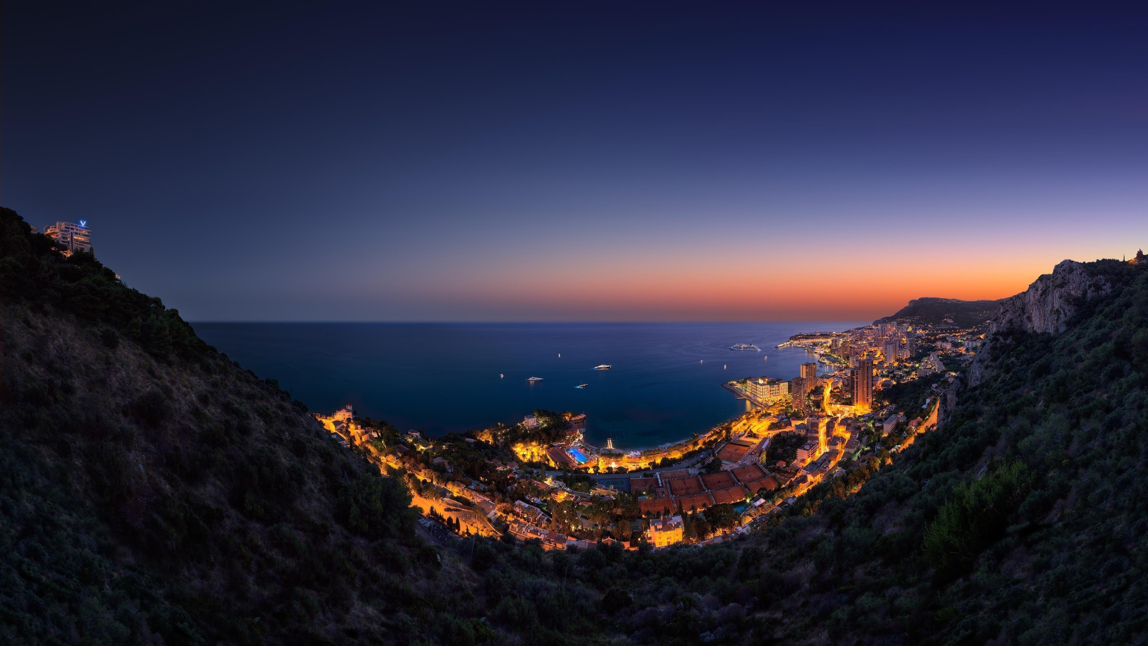 Монако ночь городской пейзаж панорама обои скачать