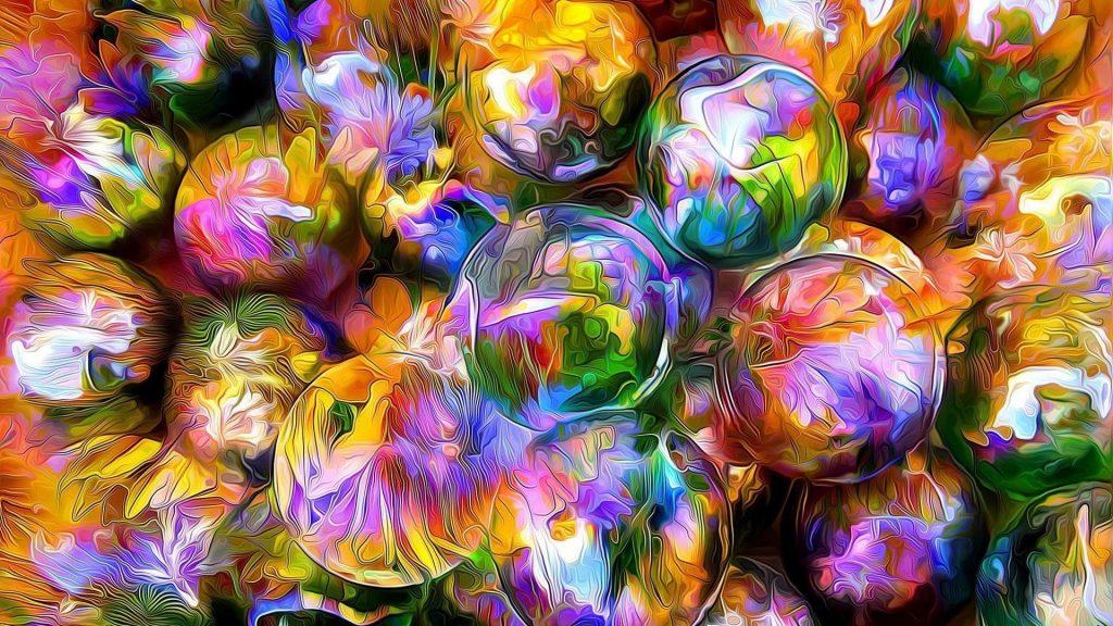 Рендеринг шаров размытые лепестки отражение абстракция обои скачать