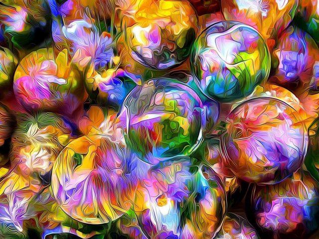Рендеринг шаров размытые лепестки отражение абстракция