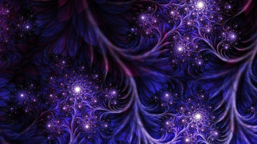 Темно-фиолетовые сверкающие цветы фрактальная абстракция обои скачать