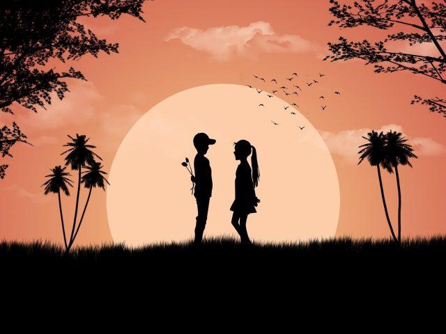 Мальчик девочка любит милый закат